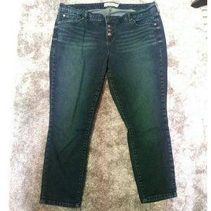 Torrid crop skinny jean exposed button fly sz 16